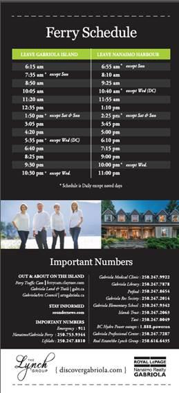 Gabriola Ferry Schedule 2016 LYNCH